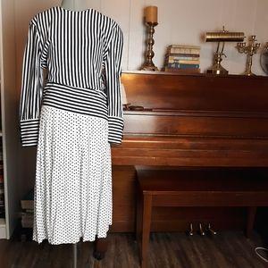 Vintage 80s stripe midi dress